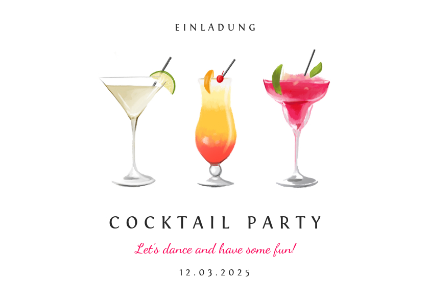 Einladungskarten - Einladungskarte zur Cocktail Party