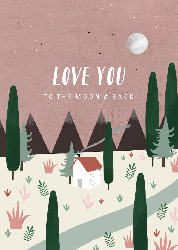 Grußkarten - Grußkarte 'Love you to the moon and back'