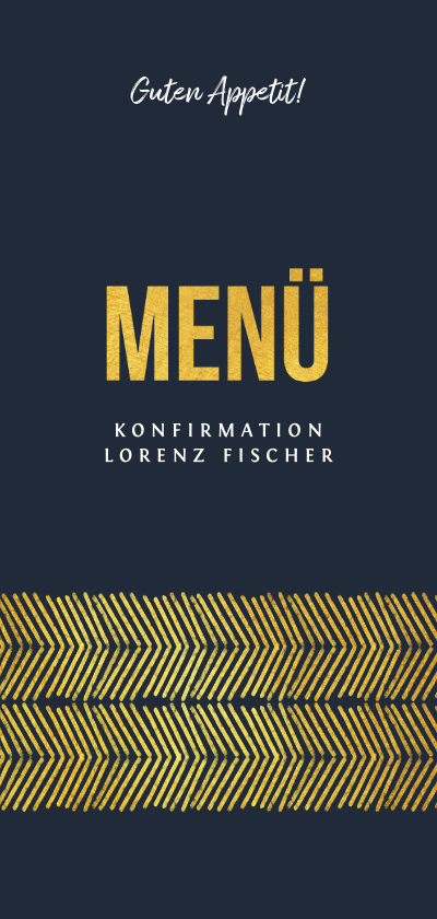 Konfirmationskarten - Menükarte zur Konfirmation Goldlook grafisch