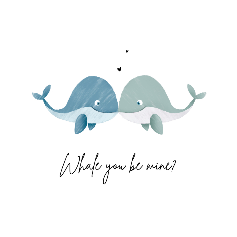 Valentinskarten - Valentinskarte 'Whale you be mine' blau & blau